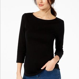 Charter Club Boatneck 3/4 Sleeve Top Large
